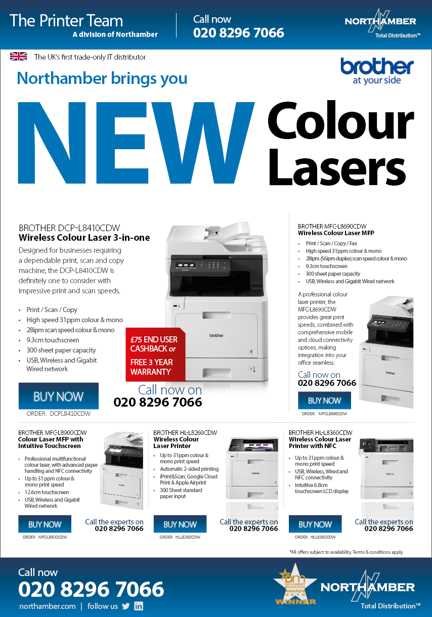 Northamber introduces Brother's NEW Colour Laser Printers