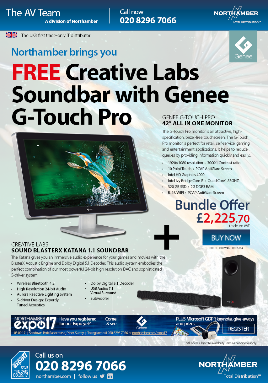"""42"""" Interactive Touchscreen now with Sound bar worth £205"""