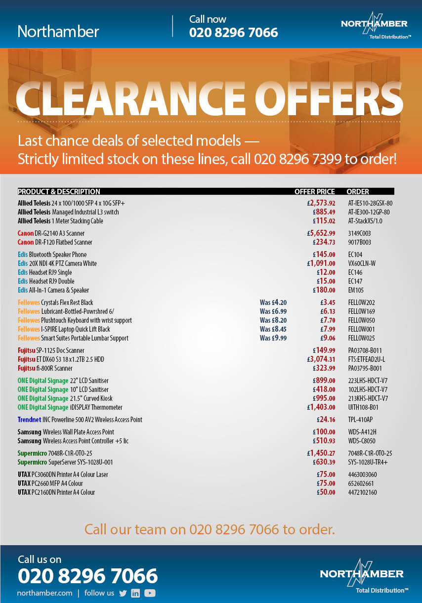 Last chance offers on clearance stock — call our team to order at these prices