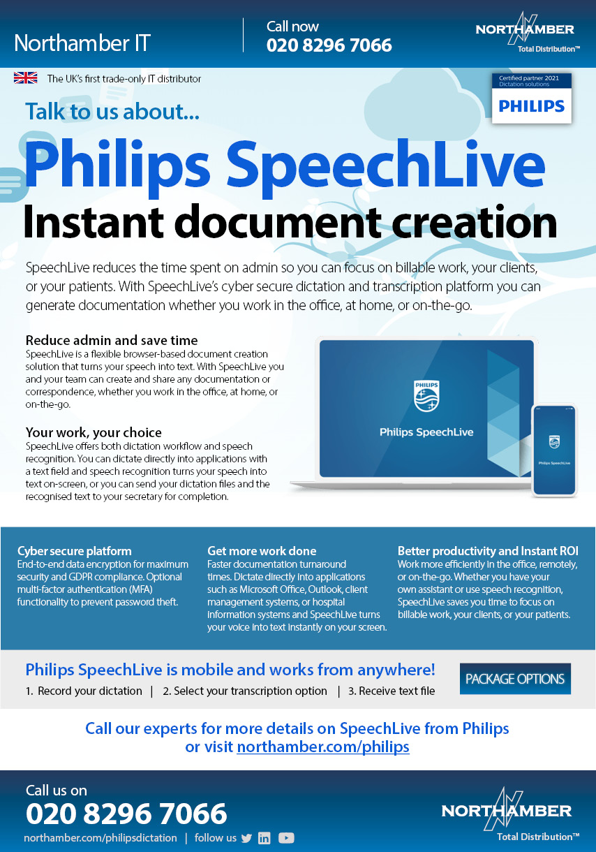 Turn speech into text from anywhere with Philips SpeechLive from Northamber